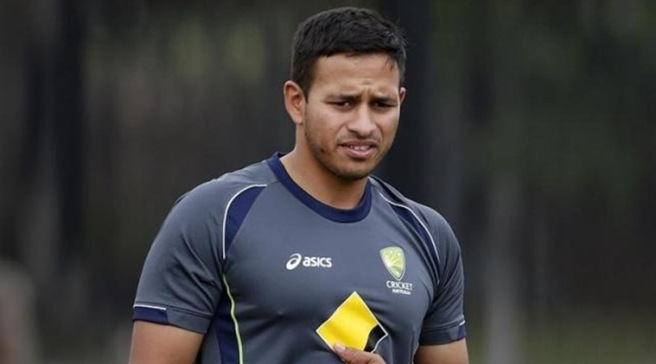 Australia's Usman Khawaja reacts during a practice session in the nets at the Sydney Cricket Ground