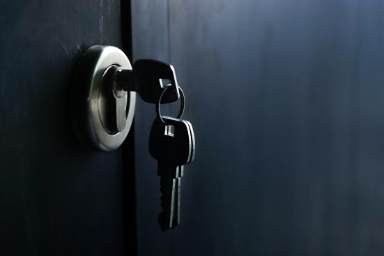 Keys stuck in a lock in vintage